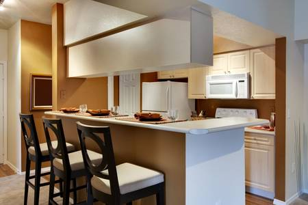 Kitchen area of apartment with high bar-style countertop Stock Photo - 5313601