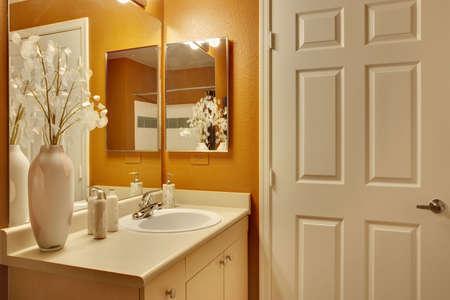 Bathroom with white door and orange accepnt paint