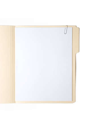 Manilla Folder with Paper and Clip Stock Photo - 5374503