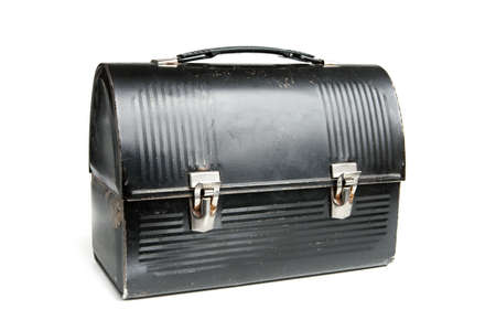 Vintage Lunch Box painted black with silver latches