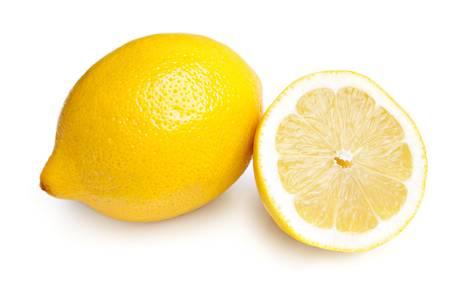 slices of lemon: Whole Lemon and Slice on White Background