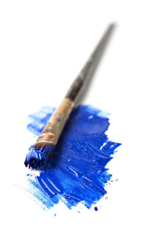 liquid material: Paintbrush in Extreme Perspective Isoalted on White Stock Photo