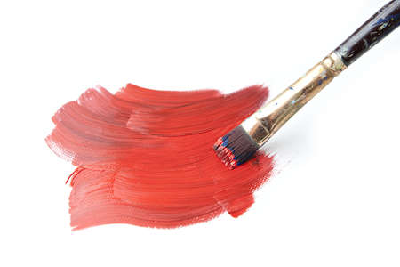color mixing: Brush Stroke with Paintbrush Isolated on White