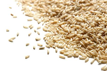 angled view: Angled View of Brown Rice Isolated on White