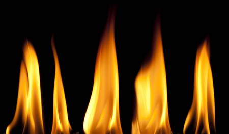 smooth: Five Small Smooth Flames Stock Photo