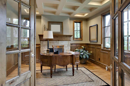 office desk: Home Office with Elegant Wood Trim