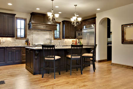 Dark Wood Kitchen with Granite Counters