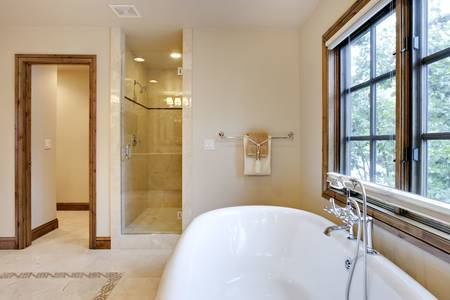 brightly: Brightly Lit Bath Tub and Shower Area Stock Photo