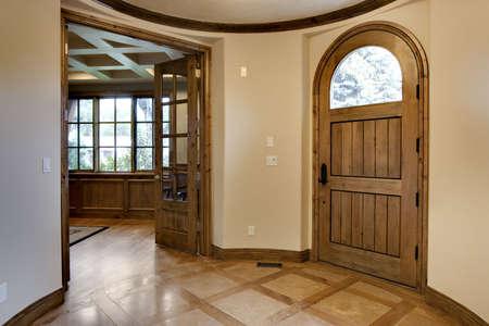 wood flooring: Elegant Home Foyer Stock Photo