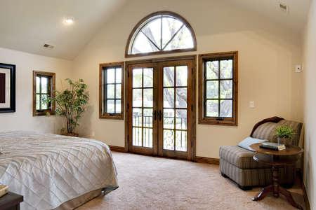 Bedroom with French Door Balcony 스톡 콘텐츠
