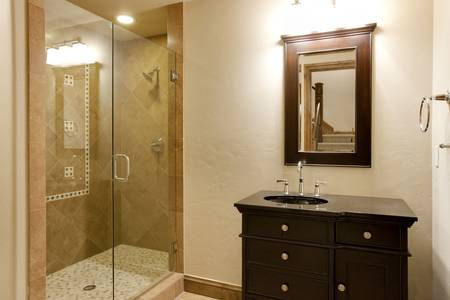 modern bathroom: Walk In Shower and Bathroom Stock Photo