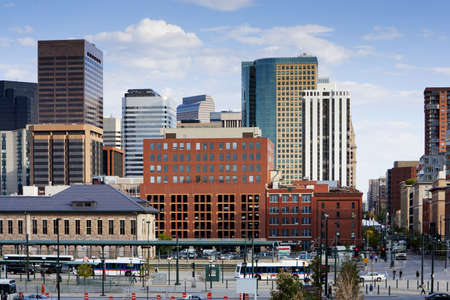 city of denver: Denver Skyline From 16th Street Stock Photo
