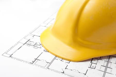 Hard Hat on Floor Plans Stock Photo - 5637464