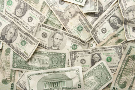 five dollar bill: Background of US Currency Pile Stock Photo