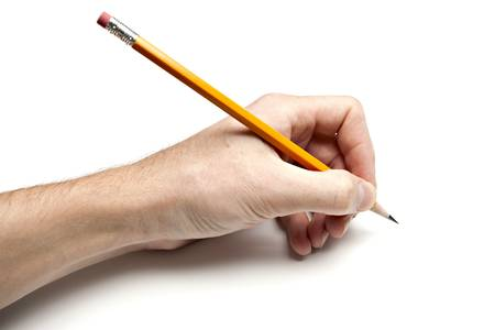 Left Hand Writing with Pencil Stock Photo - 5751432