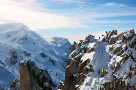 Mont Blanc with Climbers on Ridge photo