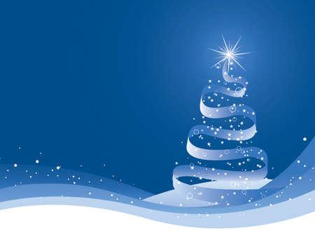 雪の丘と青い背景上にリボン クリスマス ツリー