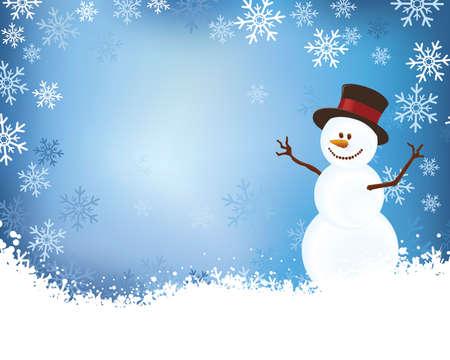 雪だるま雪の罫線とレイアウト  イラスト・ベクター素材