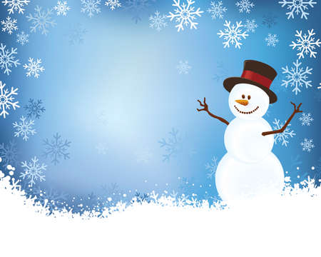 Snowman Layout with Snowflake Border Vector