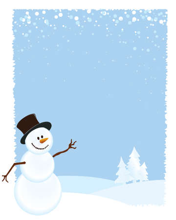 Snowman Layout with Blue Background and Snow Hills Illustration