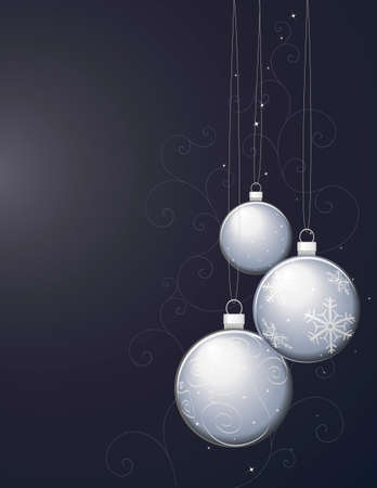Silver Christmas Ornaments on Gradient Background and Decorative Pattern