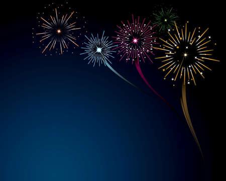 Fireworks Scene Vector  Illustration