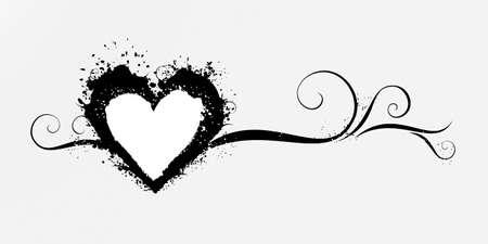 Rommelig Grunge hart met decoratieve krullen Stock Illustratie