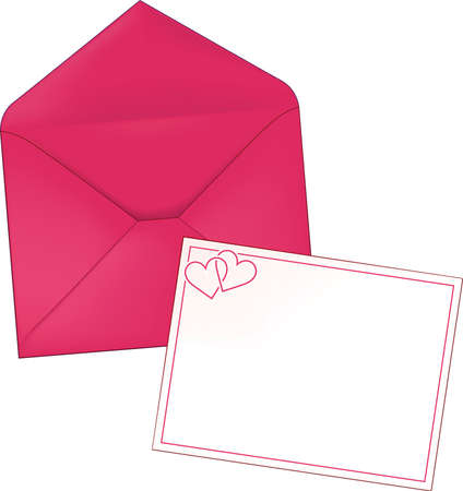 Heart Valentine Stationery Envelope and Letter