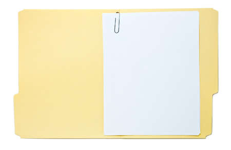 tab: Folder with Paperwork Isolated on White