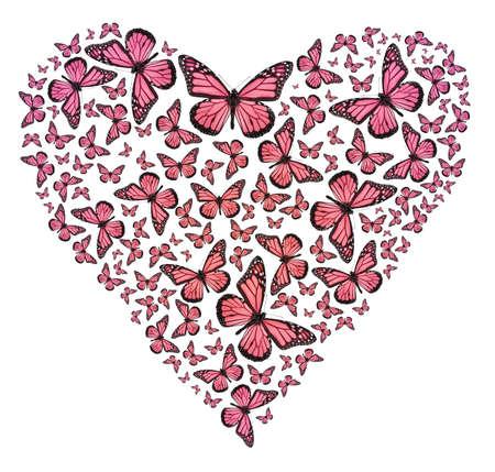 C?ur de papillon en rose Banque d'images - 6157614