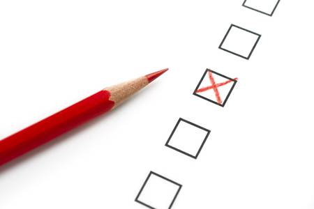 Survey Questionnaire with Red Pencil and X Stock Photo - 6197486