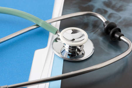Medical Documents and X Ray with Stethoscope