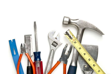 pry: Construction Tools in Pile. Focus on top surface of tools Stock Photo