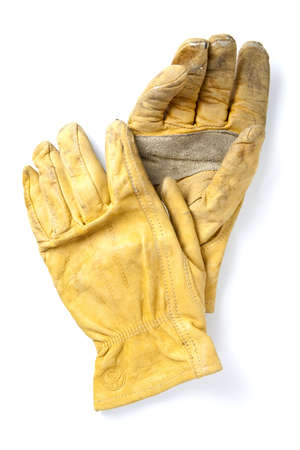Work Gloves Isolated on White. Clear focus on entire texture of gloves. photo