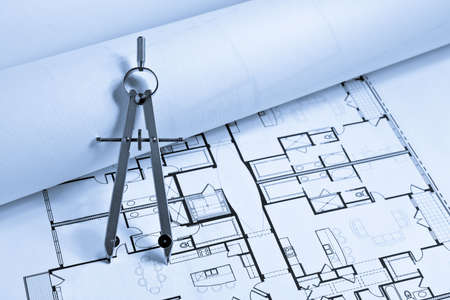 architect drawing: Drawing Compass on Floor Plans. Focus on entire drawing compass.