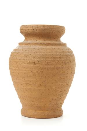 Terracotta clay pot isolated on white. Isolated on white background. Stock Photo