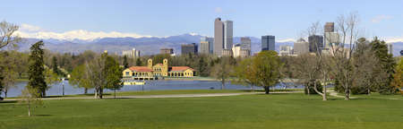 Denver Skyline from City Park. Spring 2010. Stock Photo