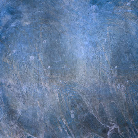 Grunge metal surface with scratches and stain spots. Blue and gray colors.