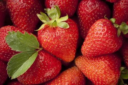strawberry: Fresh red ripe strawberries filling entire frame with strawberry plant leaf
