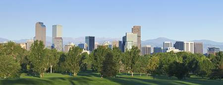 Denver city skyline seen from north east side. Summer 2010 Archivio Fotografico