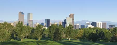 denver parks: Denver city skyline seen from north east side. Summer 2010 Stock Photo