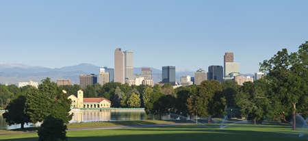 Denver skyline from city park in morning light in summer 2010