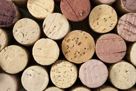 Close up of wine corks with focus across ends Archivio Fotografico