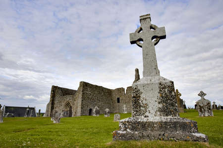 Cemetary and Church in Ireland with Blue Sky.