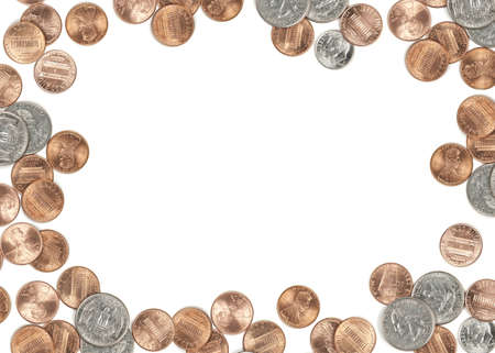 US coin currency border. Isolated on white background focus across all coins.
