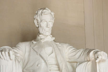 Lincoln Memorial in Washington DC. Close up of torso and head. Focus on face.