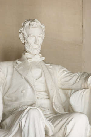 abraham lincoln: Lincoln Memorial in Washington DC. Close up of torso and head. Focus on face.
