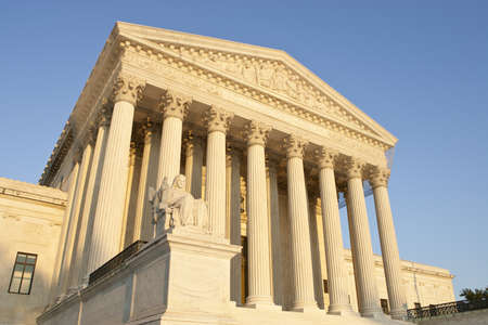 supreme court: United States of America Supreme Court exterior front at sunset. Stock Photo