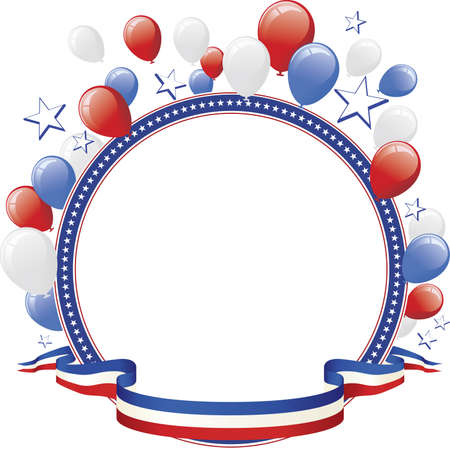 red america: Patriotic Round Border with Balloons Illustration