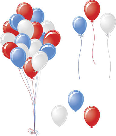 Patriotic Red White Blue Balloons Vettoriali